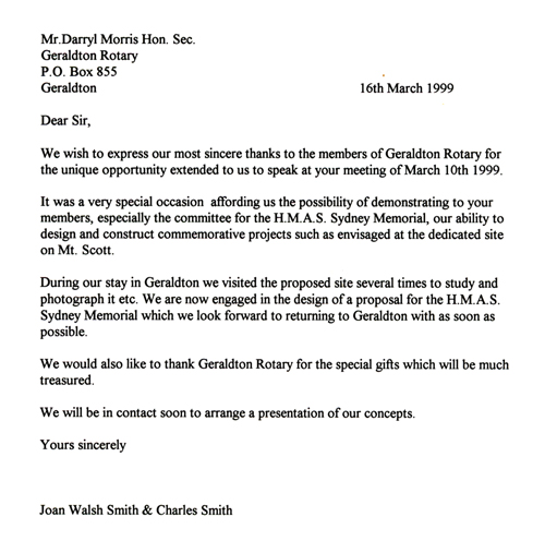 Formal Letter To Rotary Geraldton March 16th 1999 Hmas