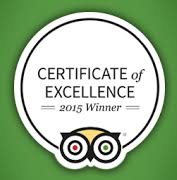 Certificate of Excellence Winner 2016 TripAdvisor 3