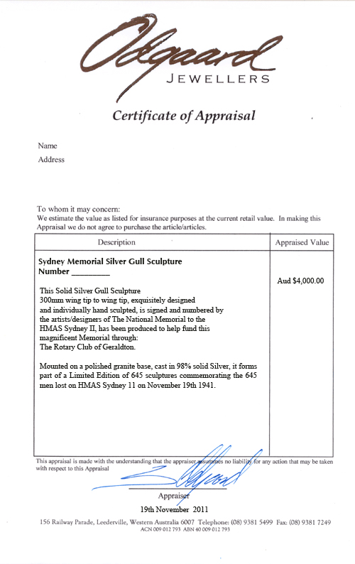 Certificate of Appraisal Sydney Memorial Silver Gull