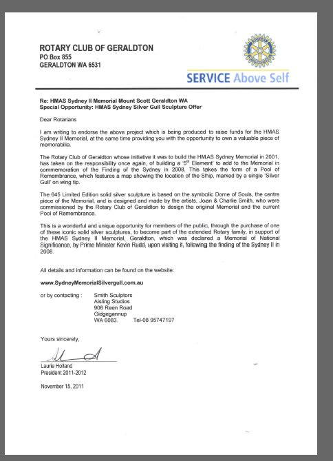 Rotary Club of Geraldton Silver Gull Sculpture Letter