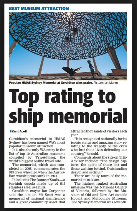 Best Museum Attraction HMAS Sydney Memorial
