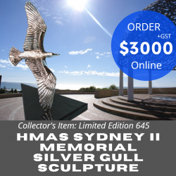 Hmas Sydney II Memorial Silver Gull Limited Edition Solid Silver Sculpture Ad1