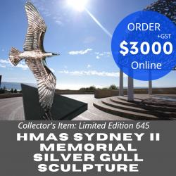 Hmas Sydney II Memorial Silver Gull Limited Edition Solid Silver Sculpture Ad1